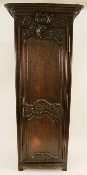 Carved Oak Single Door Armoire