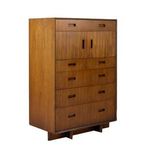 Frank lloyd wright heritage henredon tall dresser 2000 with six drawers and two drawers over divided interior usa 1955 mahogany branded 55 14 x 36 12 x 20