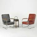 Art deco two lounge chairs and smoking stand usa 1940s chromed steel wood leatherette and painted metal unmarked taller chair 35 x 25 x 32