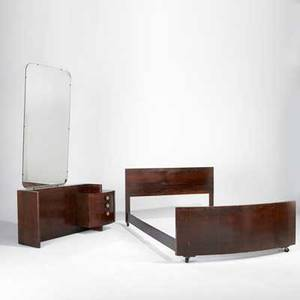 Gilbert rohde herman miller vanity mirror and fullsized bed rosewood brass painted metal and mirror vanity 26 x 56 x 19 and mirror 60 x 30