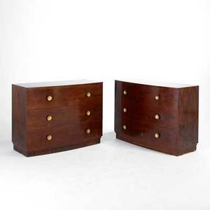 Gilbert rohde herman miller pair of dressers 3770 usa 1940s rosewood and brass painted metal unmarked each 34 x 46 x 20