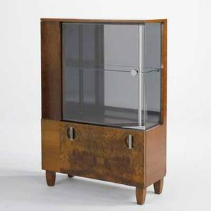 Gilbert rohde herman miller display cabinet usa 1940s burl mahogany brushed steel and glass unmarked 52 12 x 46 x 14