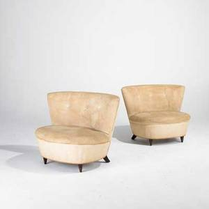 Gilbert rohde herman miller pair of lounge chairs usa 1940s upholstery and walnut unmarked each 29 x 39 x 29