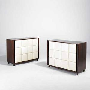 Gilbert rohde herman miller pair of dressers usa 1940s mahogany and leatherette unmarked each 34 12 x 44 12 x 19