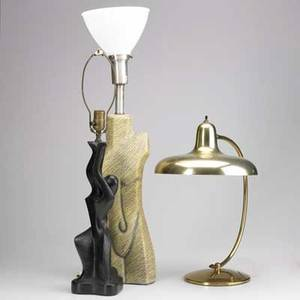 Modern lighting three table lamps yellowglazed ceramic plastic abstract figural and brass lightolierstyle tallest 32