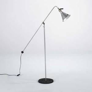 Victor photographic products adjustable floor lamp aluminum chromed steel and castiron base and shade marked 51 x 10 dia