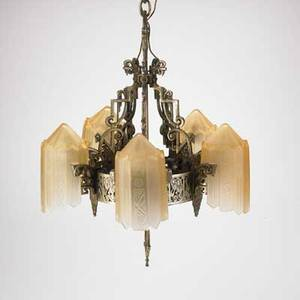 Art deco fivelight chandelier brassplated with amber glass shades overall 26 x 20 dia