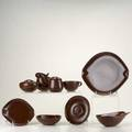 Roseville raynor forty pieces six cups six saucers six dinner plates five soup bowls six salad plates six small bowls double serving bowl oblong bowl sugar creamer and syrup all marked di