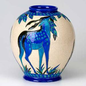 Boch freres ceramic vessel in blue and teal enamel on crackled cream ground with deer 9 x 7 12
