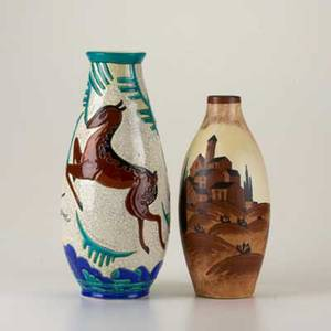 Boch freres two ceramic vases charles catteau vessel with landscape and houses and vase in crackle glaze with leaping dogs both marked taller 13