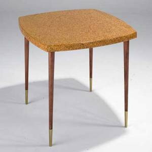 Paul frankl johnson furniture co lamp table 5045354 usa 1940s lacquered cork mahogany and brass stenciled numbers 26 12 x 30 sq