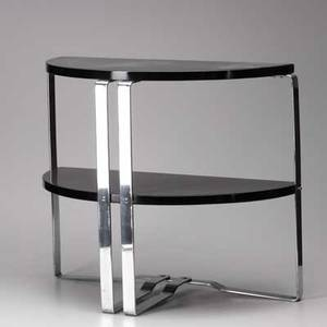 Wolfgang hoffman howell twotiered demilune console table chromed steel and black lacquered wood unmarked 22 x 26 x 13