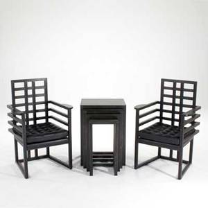 Josef hoffmann wittmann pair of armchairs and nesting tables austria 1970s80s ebonized oak and leather brass labels to chairs armchairs 38 x 26 x 20 and nesting tables 27 12 x 19 34 x