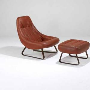 Percival lafer lounge chair and ottoman brazil 1960s leather and rosewood veneer over metal legs paper labels chair 35 x 29 x 34 and ottoman 15 x 26 x 21