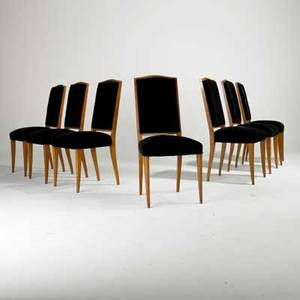 French art deco set of tallback dining chairs sycamore and velvet unmarked each 39 x 18 x 21