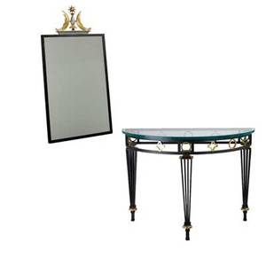 Style of maison jansen demilune console and mirror painted steel brushed brass and glass unmarked 31 34 x 43 12 x 21