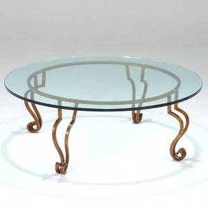 Maison jansen coffee table france 1950s gilt wroughtiron and glass unmarked 16 x 44 dia
