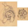 Three 20th c works on paper two ink on paper by irving marantz framed signed 5 12 x 4 12 sight and 10 12 x 7 12 sight along with a pencil drawing still life signed bigley