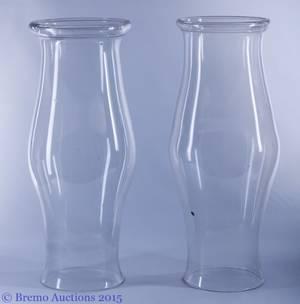 Colonial Revival Blown Glass Hurricanes Pair