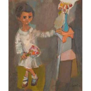 Irma cavat american b 1928 oil on canvas of child and table spain 1952 framed signed and dated 22 x 18