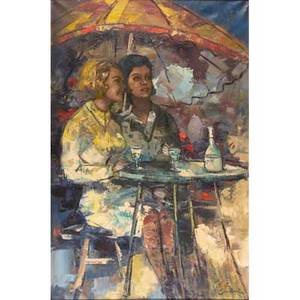 Nicola simbari italian b 1927 oil on canvas of two women at a cafe framed signed 36 x 24