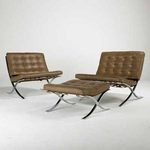 Barcelona style pair of lounge chairs and ottoman usa 1960s70s leather and chromed steel chairs 30 12 x 31 x 32 and ottoman 14 12 x 25 sq