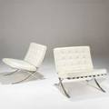 Barcelona style pair of lounge chairs italy 1990s chromed steel and leather unmarked each 30 12 x 30 x 30