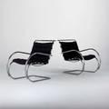 Ludwig mies van der rohe knoll international pair of mr40 lounge chairs usa 1980 chromed steel leather and canvas knoll international labels each 32 12 x 24 x 40