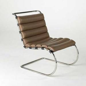 Mies van der rohe knoll studio mr lounge chair usa 1990 leather and stainless steel paper label 34 x 24 x 39