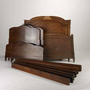 Bed group pair of frenchstyle mahogany twin beds with ormolu mounts together with inlaid french double bed in asfound condition double headboard 55 12 x 56