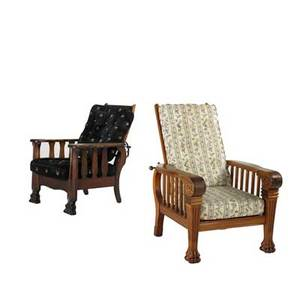 Two morris chairs one with oak frame the other in mahogany with upholstered seats and backs ca 1900 larger 39 x 32 x 35