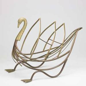 Brass swan magazine rack mid 20th c unmarked 17 x 14 12 x 22