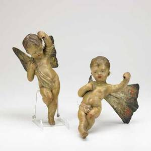 European statuettes pair of polychrome ceramic winged putti probably german or italian 19th c each 14 x 8 x 10