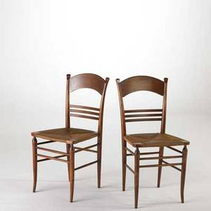 Country chairs pair of rush seat and walnut side chairs 20th c 32 x 16 x 17