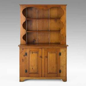 Country stepback cupboard pine and mixed woods with open scalloped top and paneled door base 19th c 69 12 x 44 x 19 12