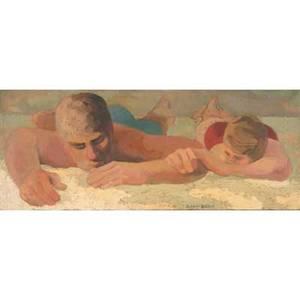 Arthur keeter american 20th oil on canvas of a couple on a sandy beach framed signed 12 x 30
