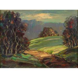 Two regional paintings fred w weber american b1890 oil on board landscape 1952 framed signed and dated 13 x 16 jules a scalella american b 1895 watercolor on paper driving past