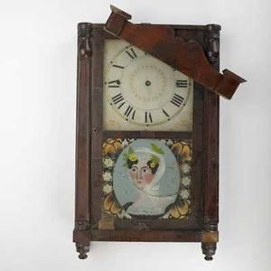 Empire case clock rodney brace mahogany veneer and reversepainted panel 19th c american 28 x 16