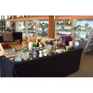 Barware and accessories approx seventy pieces include peter max love bar tray erotic ice cube makers beer cozies figural bottles art glass martini set by george ponzini etc 20th c tallest