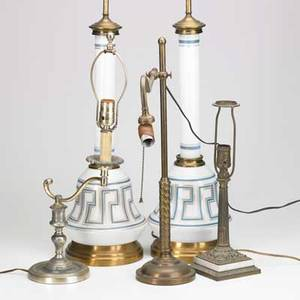 Traditional lighting five table lamps 20th c brass armlamp two green style glass lamps etc tallest 37