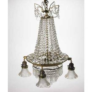 Crystal chandelier five lights with faceted glass crystals 32 x 20 dia