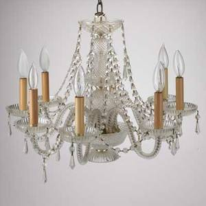 Glass chandelier sixlights with glass crystals mid 20th c unmarked 15 x 21 12 dia