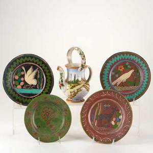Faience group five painted ceramic pieces italian jug with landscape and four mexican plates with flora and fauna some marked jug 10 12