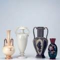 Decorative ceramics four vases villeroy  boch crown devin redware and blanc de chine largest 12 14