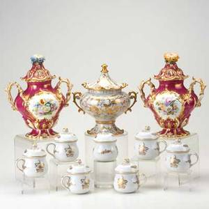 European porcelain ten pieces pair of old paris covered urns with delicate figural flower tops seven potsdecreme and covered twohandled urn with gilt decoration tallest 6