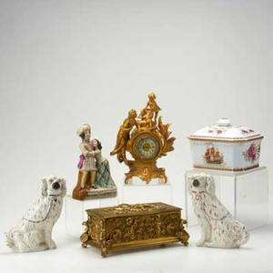 Decorative accessories six pieces 19th20th c pair of staffordshire dogs cast brass box gilt white metal clock pottery figure romeo and juliet hand painted porcelain box unmarked tallest
