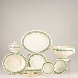 Wedgwood approx one hundred twentyseven queensware shell and plainedge pieces compotes serving platters dinner plates tea cups etc all marked