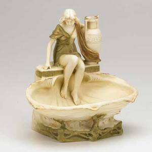 Alois hampel royal dux art nouveau porcelain figural bowl with woman seated on a shell early 20th c marked 9 12 x 9 x 7