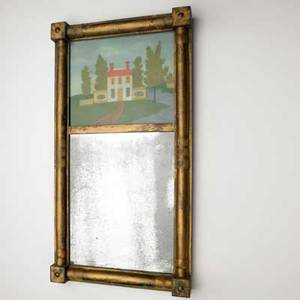 American empire mirror leaded glass panel ca 18201830 20 x 10 12