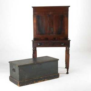 19th c furniture walnut plantation desk together with bluepainted blanket chest ca 1850 desk 59 x 33 x 22 12